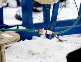 Sprängskarv apterad för detonation. Foto:Östersundsposten